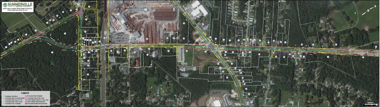 Aerial map of North Maple Street Improvements (PDF)