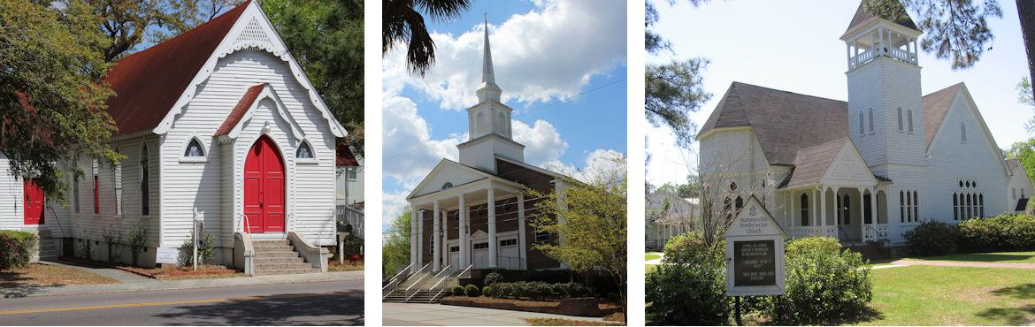 Collage of three white churches